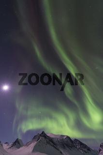 Nordlicht (Aurora borealis) ueber monderhellten Bergen in den Taelern Vistasdalen (Visttasvággi) und Stuor Reaiddavaggi, Kebnekaisefjaell, Lappland