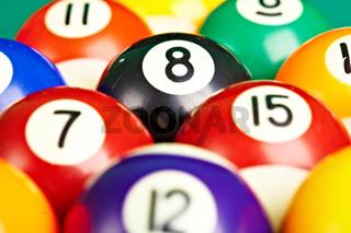 Photo billiard balls close up