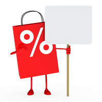 red percent sale bag