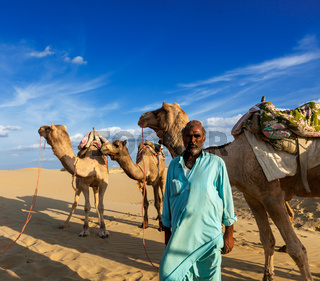Rajasthan travel background - Indian man cameleer (camel driver) portrait with camels in dunes of Thar desert. Jaisalmer