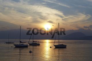 Lago Maggiore - Boote im Sonnenuntergang