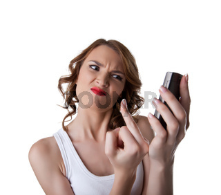 Anger Young woman show fuck finger on cell phone