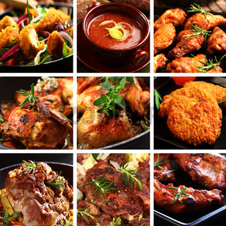 Collection of different meat dishes - soup