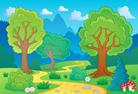 Tree theme landscape 1 - picture illustration.