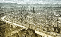 The city of Strasbourg, Alsace, France,  historical scene from t