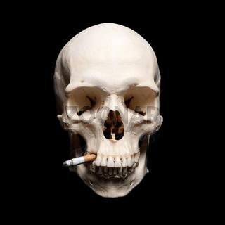 Danger Symbol. Human scull with cigarette