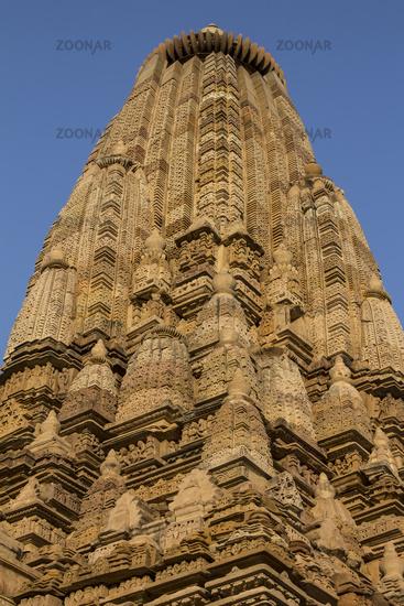 Parsvanath temple spire. Jain Temples complex in Khajuraho