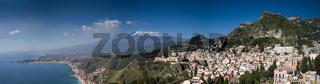 Panorama of the Etna volcano and Taormina