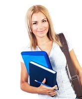 Happy female teen student portrait