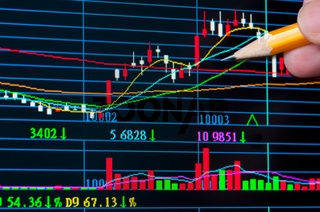 Analysis colorful stock chart on monitor