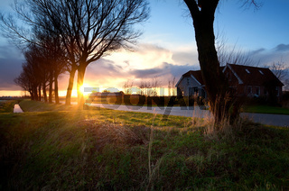 Dutch farm house at sunrise