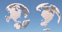Cloud globe, South and North America