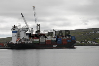 A container ship being loaded in the Tórshavn harbour