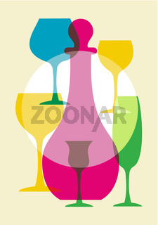 Multicolored wine glasses