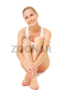 Young woman sit on the floor