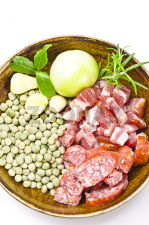 pea soup and ingredients