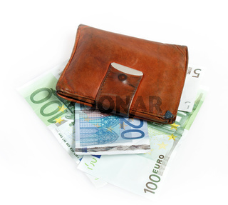 Leather wallet with euro banknotes