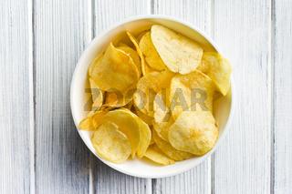 crispy potato chips in bolw