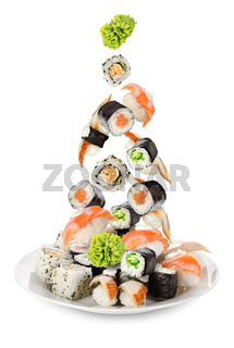 Sushi falling in the plate