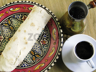 Arabic Fastfood. Pita Bead cup of Black Coffee. Tunis