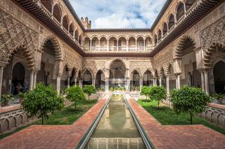 Patio in Royal Alcazars of Seville, Spain