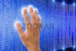 hand is touching matrix