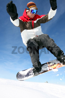 Snowboarder catching some air