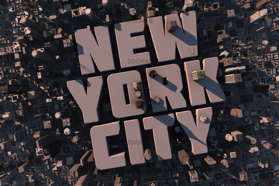 Luftansicht einer Stadt in 3D mit Schriftzug New York City