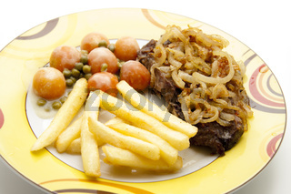 Pommes mit Steak