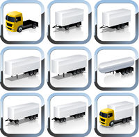 Vector Truck Trailaers Icons Set
