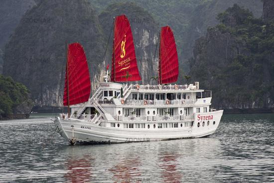 Traditionbal junk boat in Halong Bay Vietnam