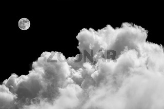 Beautiful cloudscape with fluffy clouds and moon