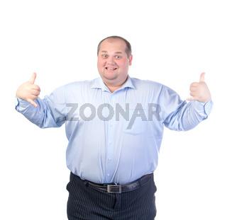 Happy Fat Man in a Blue Shirt