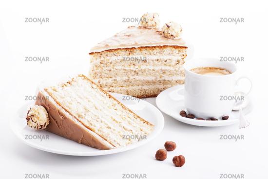 hazelnut cream cake with coffee