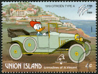 ST. VINCENT GRENADINES - UNION ISLAND - 1989: shows Donald Duck, 1919 Citroen, series Disney characters in various French vehicles
