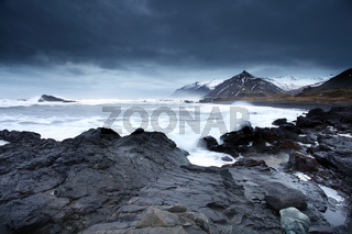 Stormy sea in south east iceland