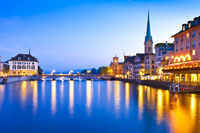 Swiss city Zurich at the blue hour