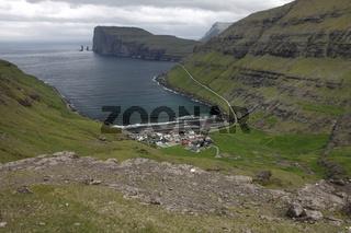Tjørnuvík village on the Faroese island of Streymoy