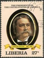 LIBERIA - 1982: shows President Chester Arthur (1881-1885), series the Presidents of the USA