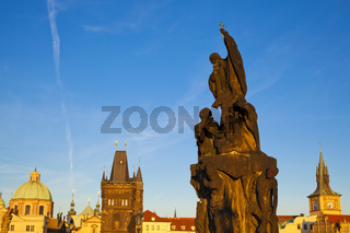 Statue of St. Francis Xavier, Charles Bridge, Prague, Czech Republic