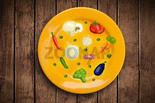 Colorful plate with hand drawn icons, symbols, vegetables and fruits