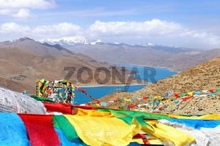 Kampa La Pass mit Berg Noijin Kangsang Tibet China
