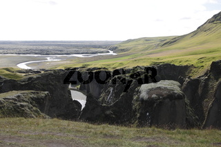 Fjaðrárgljúfur gorge and the Eldhraun lava field near to Kirkjubæjarklaustur village. Skaftárhreppur municipality