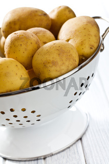 raw potatoes in colander