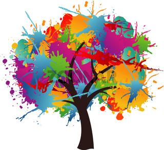 Isolated paint splash spring tree