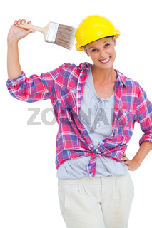 Happy handy woman looking at camera