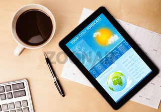 Tablet pc showing weather forecast on screen with a cup of coffee on a desk