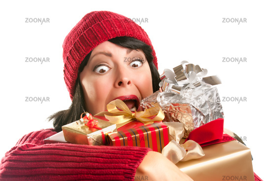 Attractive Woman Fumbling with Her Holiday Gifts
