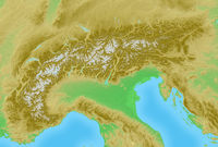 Alps topographical relief map