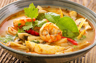 Tom yam nam khon soup